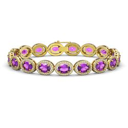 19.82 CTW Amethyst & Diamond Bracelet Yellow Gold 10K Yellow Gold - REF-249W5H - 40642