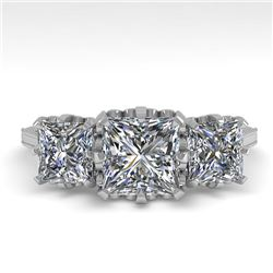 2 CTW Past Present Future Certified VS/SI Princess Diamond Ring 18K White Gold - REF-414N2A - 35784