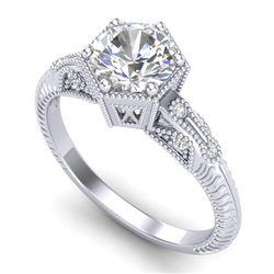 1.17 CTW VS/SI Diamond Solitaire Art Deco Ring 18K White Gold - REF-381Y8X - 37214