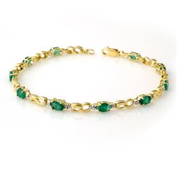 2.76 CTW Emerald & Diamond Bracelet 10K Yellow Gold - REF-43X6R - 14509