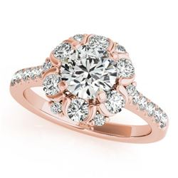 1.55 CTW Certified VS/SI Diamond Solitaire Halo Ring 18K Rose Gold - REF-175V8Y - 26668