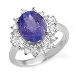 3.75 CTW Tanzanite & Diamond Ring 18K White Gold - REF-127H3M - 13869