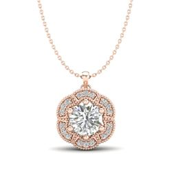 1.01 CTW VS/SI Diamond Solitaire Art Deco Stud Necklace 18K Rose Gold - REF-245H5M - 37110