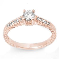 0.70 CTW Certified VS/SI Diamond Solitaire Ring 14K Rose Gold - REF-81K5W - 13615