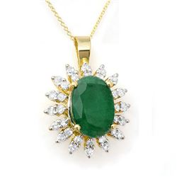 6.21 CTW Emerald & Diamond Pendant 14K Yellow Gold - REF-125H5M - 12839