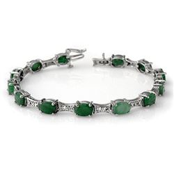 11.04 CTW Emerald & Diamond Bracelet 14K White Gold - REF-135X6R - 14052