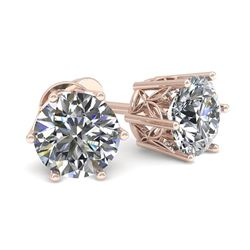 0.53 CTW Certified VS/SI Diamond Stud Solitaire Earrings 18K Rose Gold - REF-60M7F - 35816