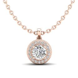 1 CTW VS/SI Diamond Solitaire Art Deco Stud Necklace 18K Rose Gold - REF-180M2F - 36966