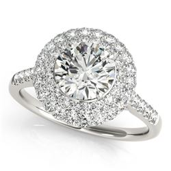 1.50 CTW Certified VS/SI Diamond Solitaire Halo Ring 18K White Gold - REF-229F5N - 26452