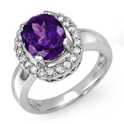 3.90 CTW Tanzanite & Diamond Ring 18K White Gold - REF-143W6H - 11904