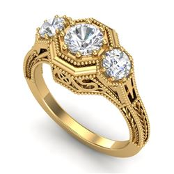 1.05 CTW VS/SI Diamond Solitaire Art Deco 3 Stone Ring 18K Yellow Gold - REF-200A2V - 37102