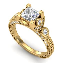 1.75 CTW Princess VS/SI Diamond Art Deco Ring 18K Yellow Gold - REF-445Y5X - 37150