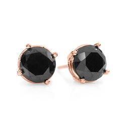 1.50 CTW VS Certified Black Diamond Solitaire Stud 18K Rose Gold - REF-41M8F - 14143