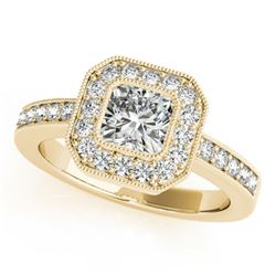 0.80 CTW Certified VS/SI Cushion Diamond Solitaire Halo Ring 18K Yellow Gold - REF-161F3N - 27176