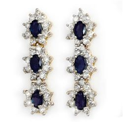 5.88 CTW Blue Sapphire & Diamond Earrings 14K Yellow Gold - REF-105A5V - 12942