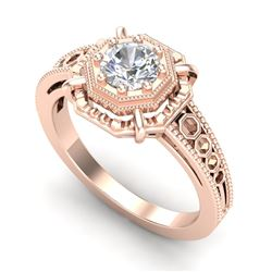 0.53 CTW VS/SI Diamond Solitaire Art Deco Ring 18K Rose Gold - REF-136V4Y - 36870