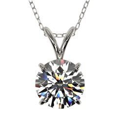 1.30 CTW Certified H-SI/I Quality Diamond Solitaire Necklace 10K White Gold - REF-240W2H - 36782