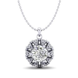 1.20 CTW VS/SI Diamond Art Deco Micro Pave Stud Necklace 18K White Gold - REF-220F2N - 36998