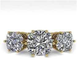 2.0 CTW Past Present Future Certified VS/SI Cushion Diamond Ring 18K Yellow Gold - REF-414N2A - 3592
