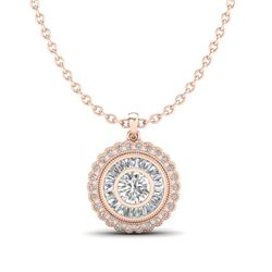 2.11 CTW VS/SI Diamond Solitaire Art Deco Stud Necklace 18K Rose Gold - REF-309K3W - 37086