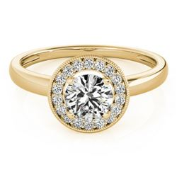 0.90 CTW Certified VS/SI Diamond Solitaire Halo Ring 18K Yellow Gold - REF-187Y5X - 26316