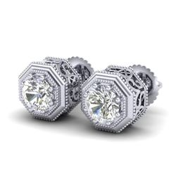 1.07 CTW VS/SI Diamond Solitaire Art Deco Stud Earrings 18K White Gold - REF-190Y9X - 37094