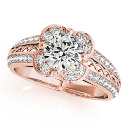 0.85 CTW Certified VS/SI Diamond Solitaire Halo Ring 18K Rose Gold - REF-140M2F - 26908