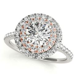 1 CTW Certified VS/SI Diamond Solitaire Halo Ring 18K White & Rose Gold - REF-144H5M - 26218