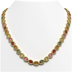 31.96 CTW Multi Color Sapphire & Diamond Necklace 10K Yellow Gold - REF-674V4Y - 40450