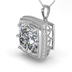 1 CTW VS/SI Cushion Cut Diamond Solitaire Necklace 18K White Gold - REF-332A7V - 36006