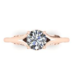 1 CTW Solitaire Certified VS/SI Diamond Ring 14K Rose Gold - REF-278H4M - 38542