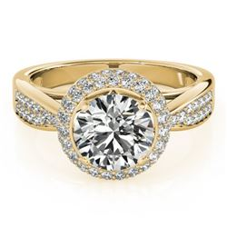 1.40 CTW Certified VS/SI Diamond Solitaire Halo Ring 18K Yellow Gold - REF-225V6Y - 27005