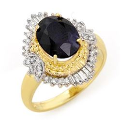 3.01 CTW Blue Sapphire & Diamond Ring 14K Yellow Gold - REF-57K8W - 13114