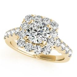 1.50 CTW Certified VS/SI Diamond Solitaire Halo Ring 18K Yellow Gold - REF-161M8F - 26208