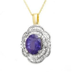 5.60 CTW Tanzanite & Diamond Pendant 14K Yellow Gold - REF-213V6Y - 13996