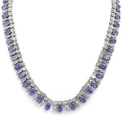 34 CTW Tanzanite & Diamond Necklace 14K White Gold - REF-763H6M - 14294