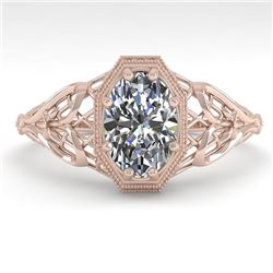 1.0 CTW VS/SI Oval Diamond Solitaire Engagement Ring Deco Size 7 18K Rose Gold - REF-299W4H - 36038