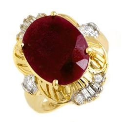 7.84 CTW Ruby & Diamond Ring 14K Yellow Gold - REF-100X2R - 13239