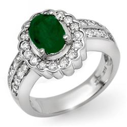 2.25 CTW Emerald & Diamond Ring 18K White Gold - REF-124F9N - 11922