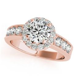 1.60 CTW Certified VS/SI Diamond Solitaire Halo Ring 18K Rose Gold - REF-250F9N - 27061