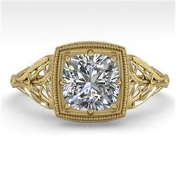 1.0 CTW Certified VS/SI Cushion Diamond Engagement Ring Deco 18K Yellow Gold - REF-344M4F - 36046