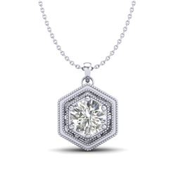 0.76 CTW VS/SI Diamond Solitaire Art Deco Stud Necklace 18K White Gold - REF-178M2F - 36902