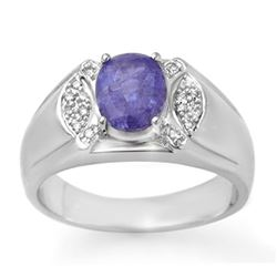 2.65 CTW Tanzanite & Diamond Men's Ring 10K White Gold - REF-70H4M - 13415