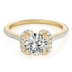 1.33 CTW Certified VS/SI Diamond Solitaire Halo Ring 18K Yellow Gold - REF-371W5H - 26184