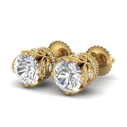3 CTW VS/SI Diamond Solitaire Art Deco Stud Earrings 18K Yellow Gold - REF-622N2A - 36862