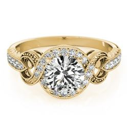 0.80 CTW Certified VS/SI Diamond Solitaire Halo Ring 18K Yellow Gold - REF-125R3K - 26580