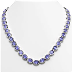 48.65 CTW Tanzanite & Diamond Necklace White Gold 10K White Gold - REF-797M3F - 40562