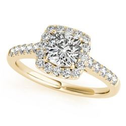 1.16 CTW Certified VS/SI Cushion Diamond Solitaire Halo Ring 18K Yellow Gold - REF-216K4W - 27125