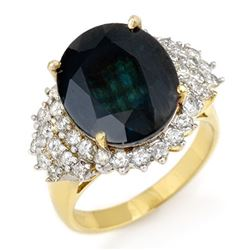 9.88 CTW Blue Sapphire & Diamond Ring 14K Yellow Gold - REF-145V5Y - 12978