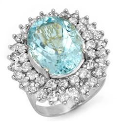10.50 CTW Aquamarine & Diamond Ring 18K White Gold - REF-280R2K - 14383